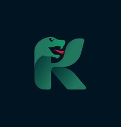 K letter logo with snake head silhouette vector