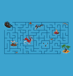 kids maze pirate game with labyrinth vector image