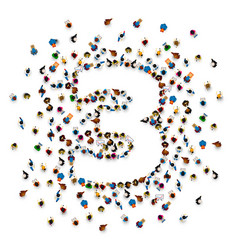 large group of people in number 3 three form vector image