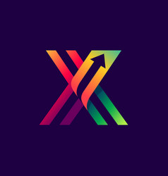 letter x logo with arrow inside vector image