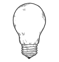 Light bulb sketch scratch board imitation black vector