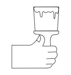 line hand with brush tool to paint design vector image