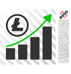 litecoin growing graph trend flat icon with bonus vector image
