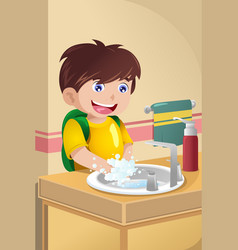 little boy washing hands vector image