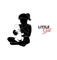 little child baby little girl is playing vector image