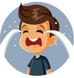 Little sad boy crying cartoon character vector