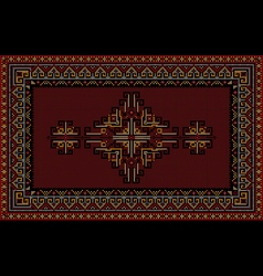 Luxury carpet with ethnic ornament on maroon vector