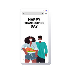 man woman in masks celebrating happy thanksgiving vector image