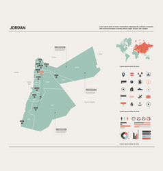 Map jordan high detailed country map with vector