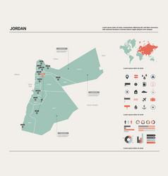 Map jordan high detailed country vector