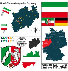 Map of North Rhine Westphalia vector