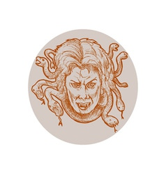 Medusa greek Methology snakes as hair vector