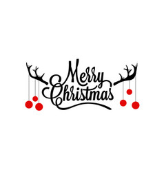 merry christmas lettering with deer horns vector image