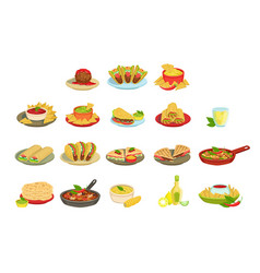 mexican food signature dishes set vector image