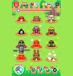 Moles attack game assets vector