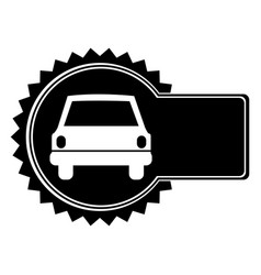 monochrome circular emblem with automobile in vector image vector image