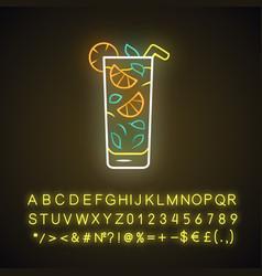Moxito neon light icon mojito cocktail in vector