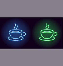 neon cup and saucer in blue and green color vector image