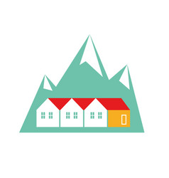 Norway homes flat on white vector