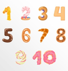 Numbers like sweets and buns vector image