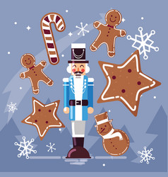 Nutcracker general with ginger cookie and cane vector
