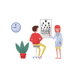 ophthalmologist doctor doing eyesight test to male vector image