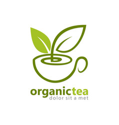 Organic green tea logo vector