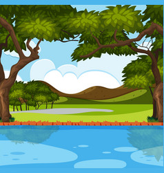 Outdoor nature river scene vector