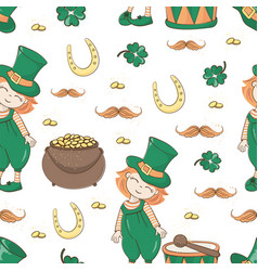 patricks ale saint patrick day cartoon seamless vector image