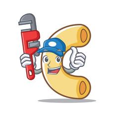 Plumber macaroni mascot cartoon style vector