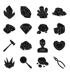 Precious minerals and jeweler set icons in black vector