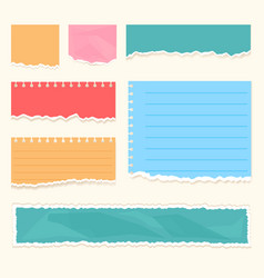 realistic colorful ripped paper scraps strips vector image