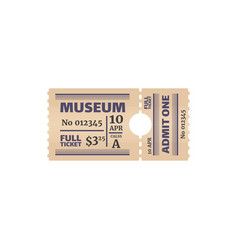 Retro full ticket to museum isolated coupon card vector