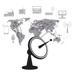 Satellite dish data transmitter global service vector