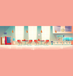 School cafe university canteen empty dining room vector