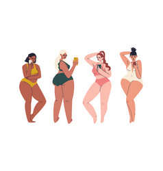 Set hand drawn plus size young women vector