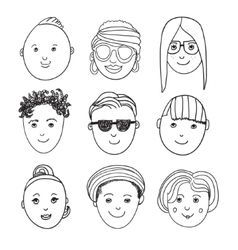 Set of hand drawn people faces vector