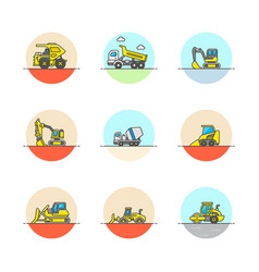 set of multicolor construction icons vector image