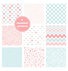set of nine graceful seamless patterns vector image