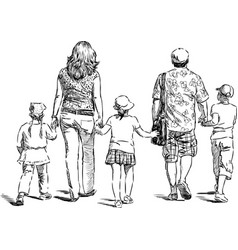 sketch a family townspeople going on a vector image