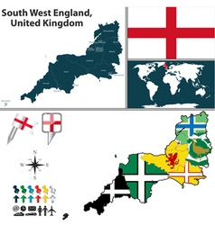 South west england with flags vector
