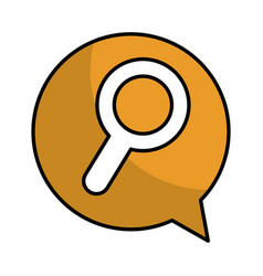 Speech bubble with search magnifying glass icon vector