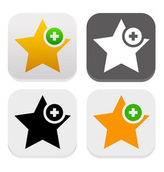 Star icons add to favorites plus 1 like vector