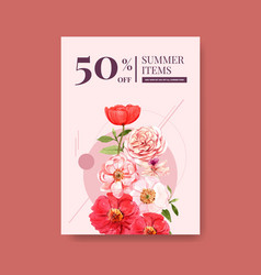 Summer flower poster template design vector