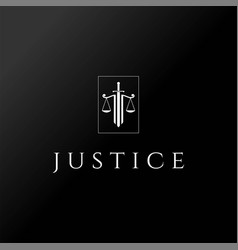 Sword blade with scale justice law logo design vec vector