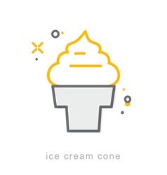 Thin line icons Ice cream cone vector
