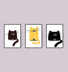 Three cats posters with different funny animal vector