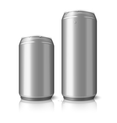 Two blank aluminum beer cans isolated on white vector image
