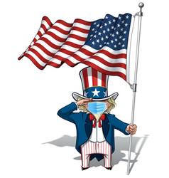 uncle sam saluting us flag - surgical mask vector image