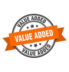 Value added label value added orange band sign vector